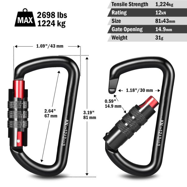12kN Screw-locking Black Carabiner Dimensions