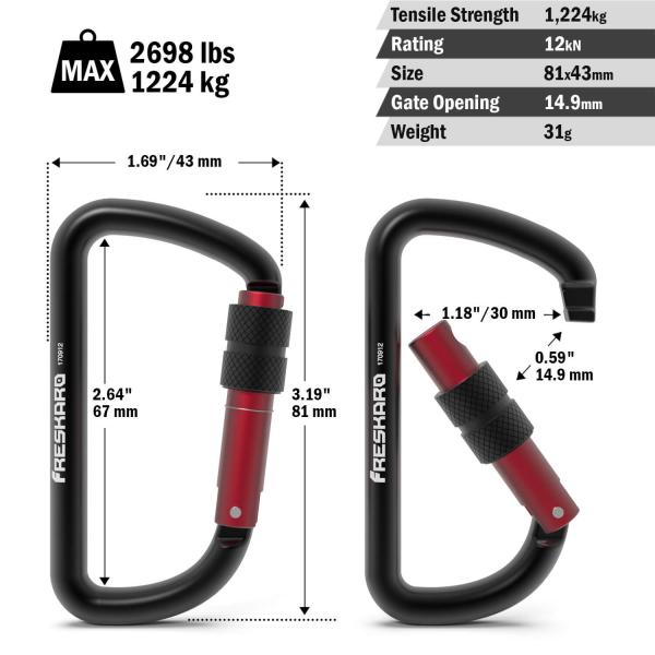 12kn screw-gate carabiner dimensions
