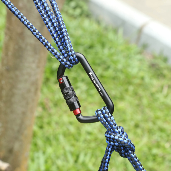 12Kn Autolocking carabiner holding ropes together