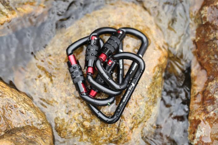 12kN Auto-locking Black Carabiner 4pack
