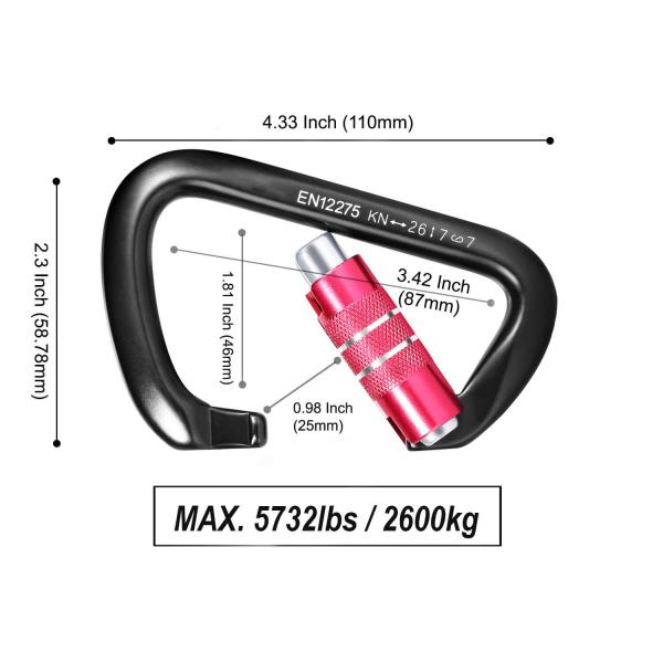 26kN Auto-locking Carabiner Size